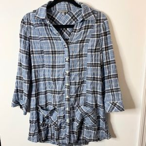 Rubbish blue plaid long button on top size small